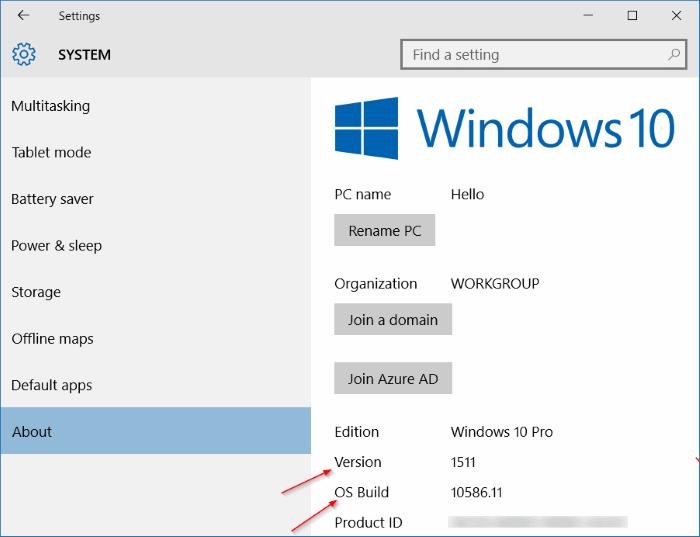 Find Build Number Windows