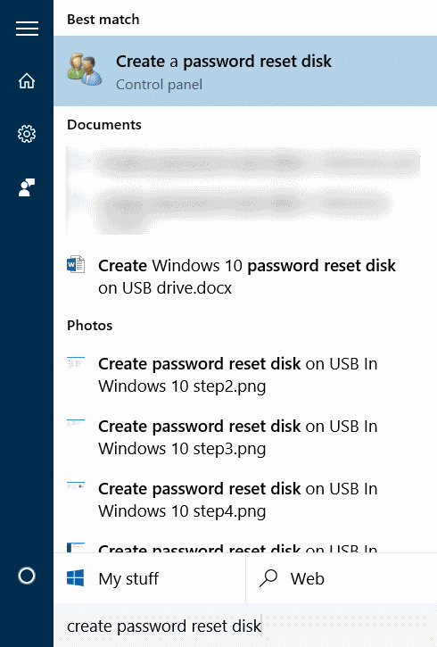 Create password reset disk on USB In Windows 10 step1
