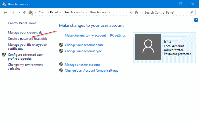 Create password reset disk on USB In Windows 10 step4