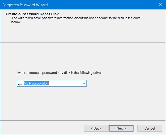 Create password reset disk on USB In Windows 10 step6