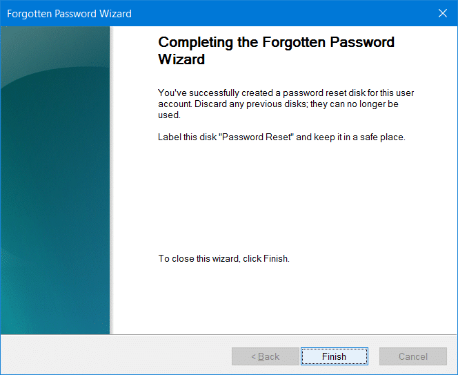 Create password reset disk on USB In Windows 10 step9