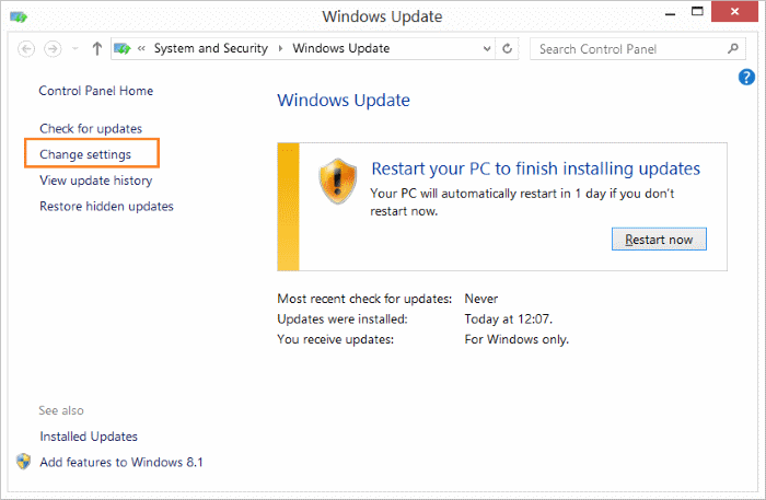 Disable Office 2016 2013 updates Windows 8.1 step1