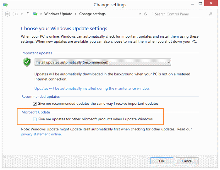 Disable Office 2016 2013 updates Windows 8.1 step2