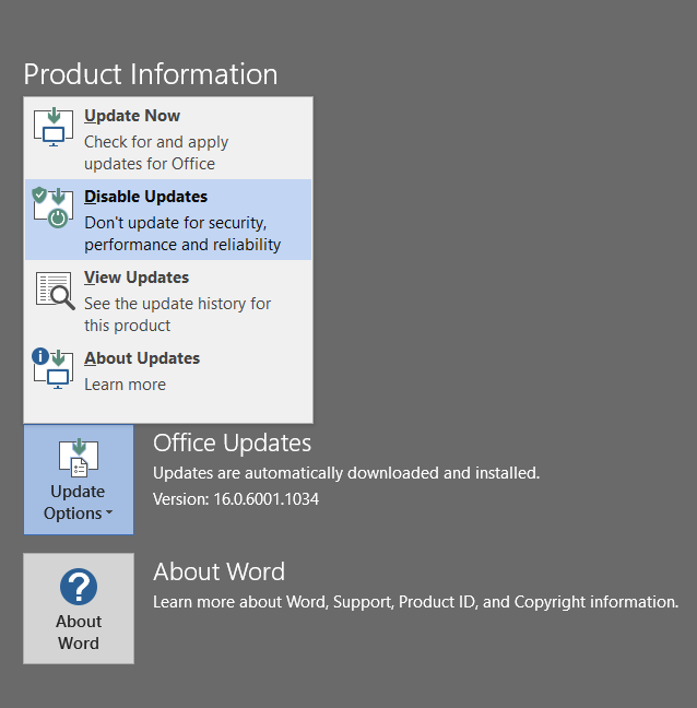 Disable Office 2016 updates pic2