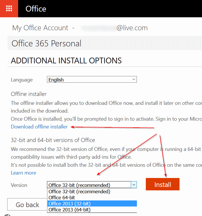 Downgrade Microsoft Office 2016 to 2013 step4