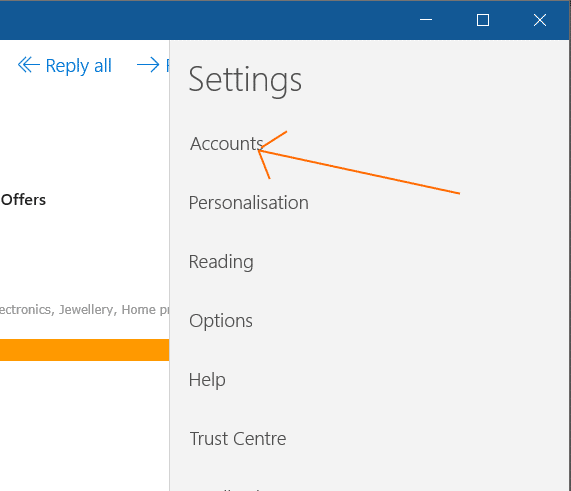 how to change email account settings in windows 10