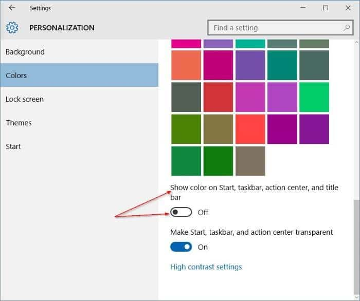 Get colored title bar without changing taskbar and start menu color Windows 10 step2