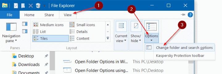 Open Folder Options in Windows 10 pic2
