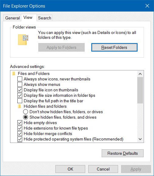 Open Folder Options in Windows 10