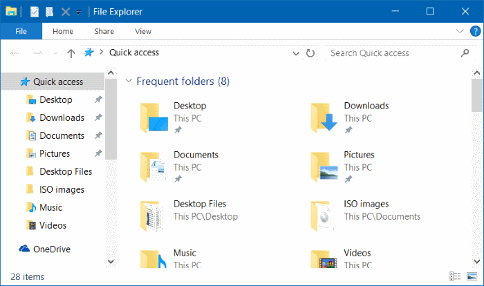 Pin Recycle Bin To Quick Access & Quick Access Toolbar in Windows 10 step1