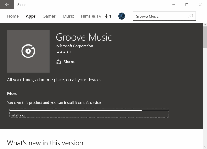 Reinstall Groove Music in Windows 10 pic9.2