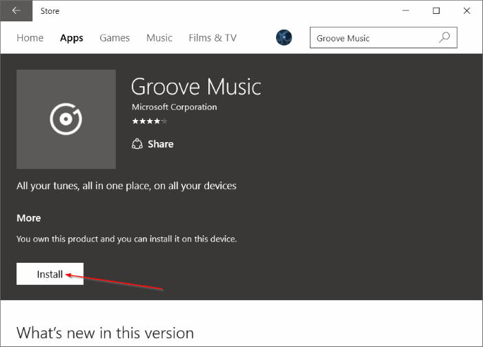 Reinstall Groove Music in Windows 10 pic9