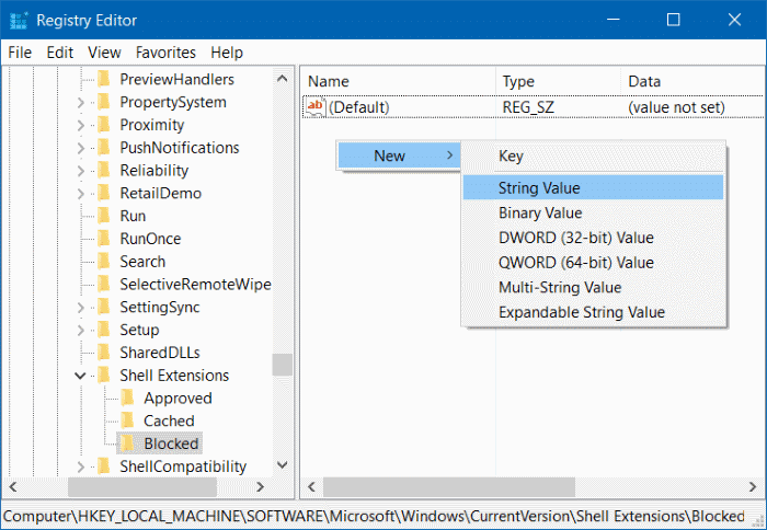 Remove Cast to device from context menu in Windows 10 step5