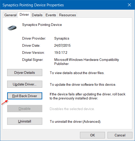 Roll back or restore previous version of a driver in Windows 10 step4