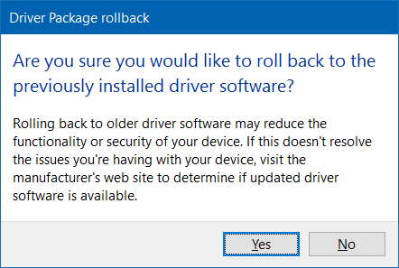 Roll back or restore previous version of a driver in Windows 10 step5