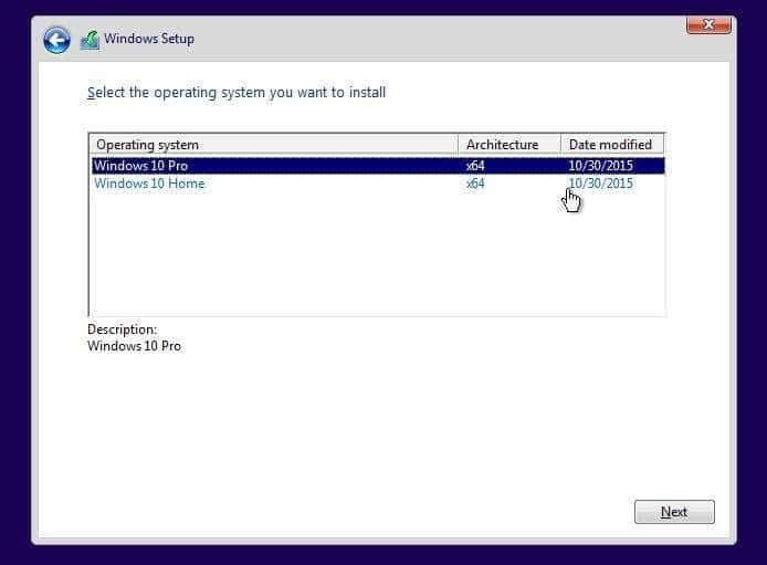 Select Windows 10 Pro edition while installing Windows 10 step01