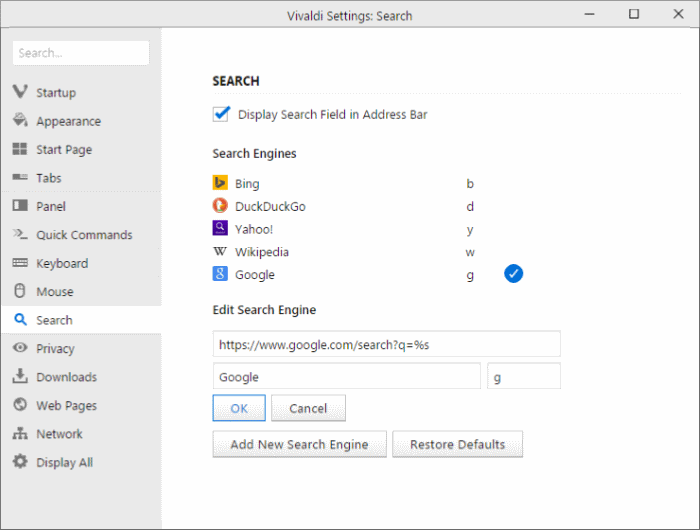 how to set google as default search in mozilla