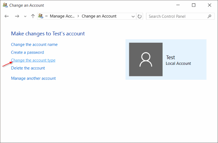 Standard account to administrator account Windows 10 pic9
