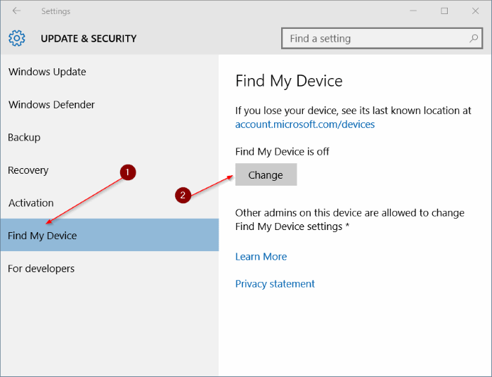 Turn on Find My Device in Windows 10 step3