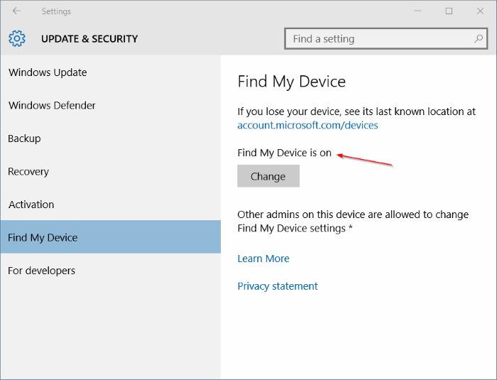 Turn on Find My Device in Windows 10 step5