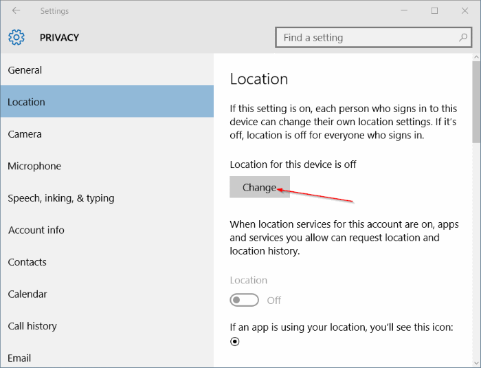 Turn on Find My Device in Windows 10 step7