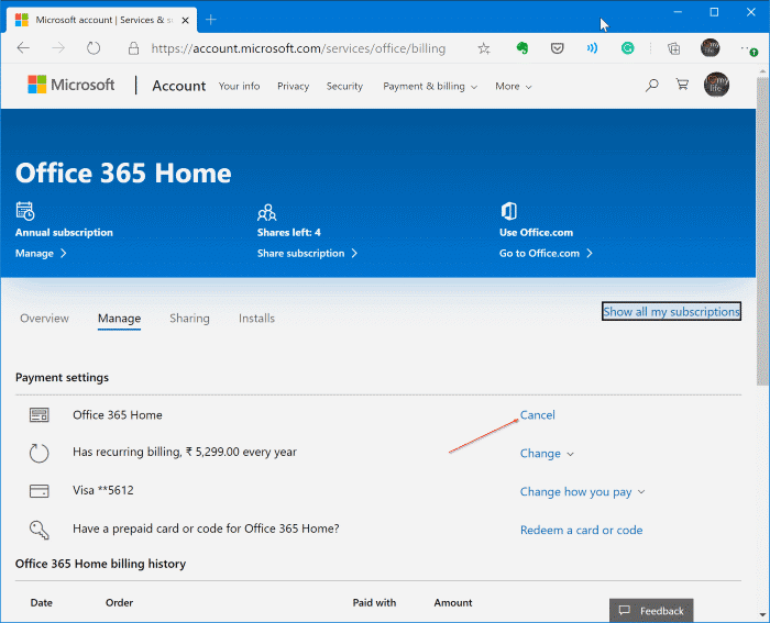 cancel office 365 subscription pic1