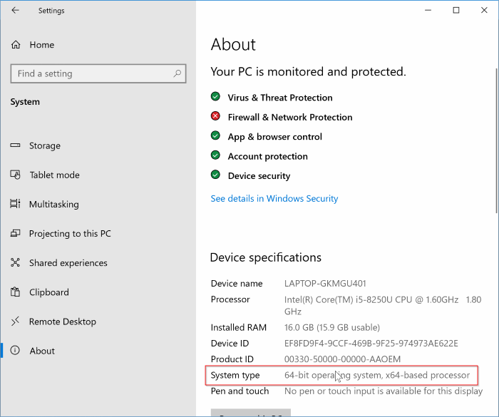 check if Windows 10 is 64 bit or 32 bit pic2