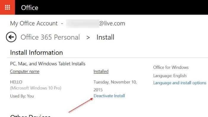deactivate Office 365 installation