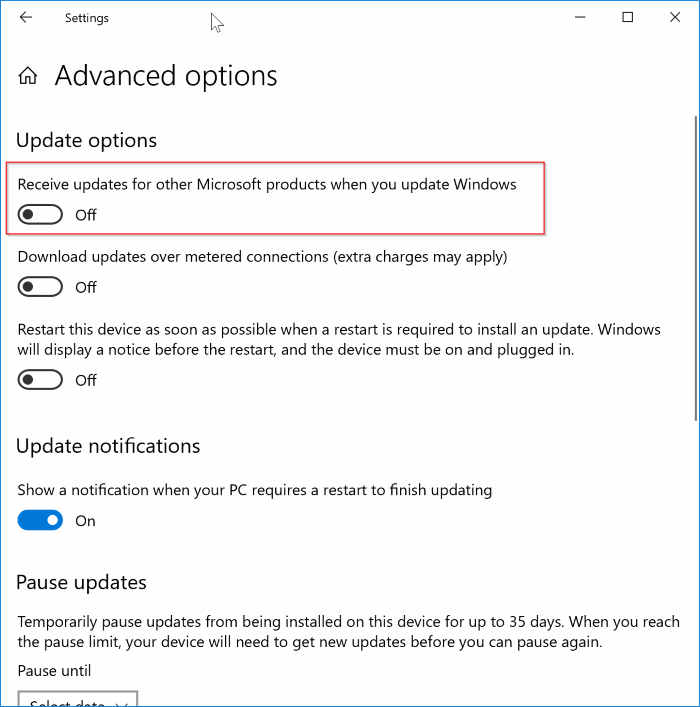 disable Office 365 updates in Windows 10 pic2