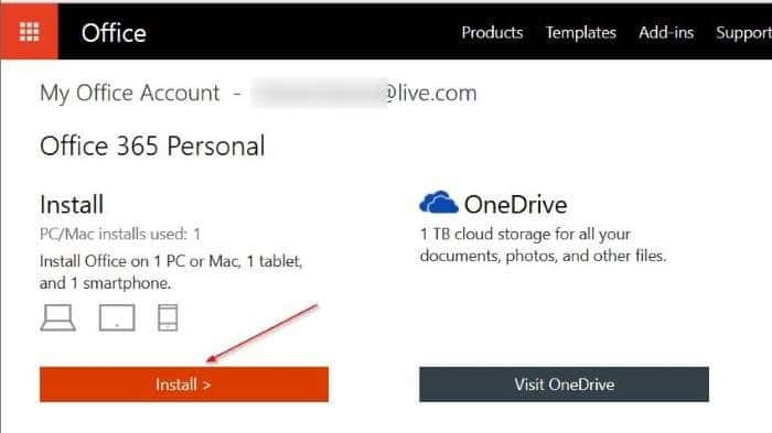 téléchargez l'étape d'installation hors connexion Office 3651
