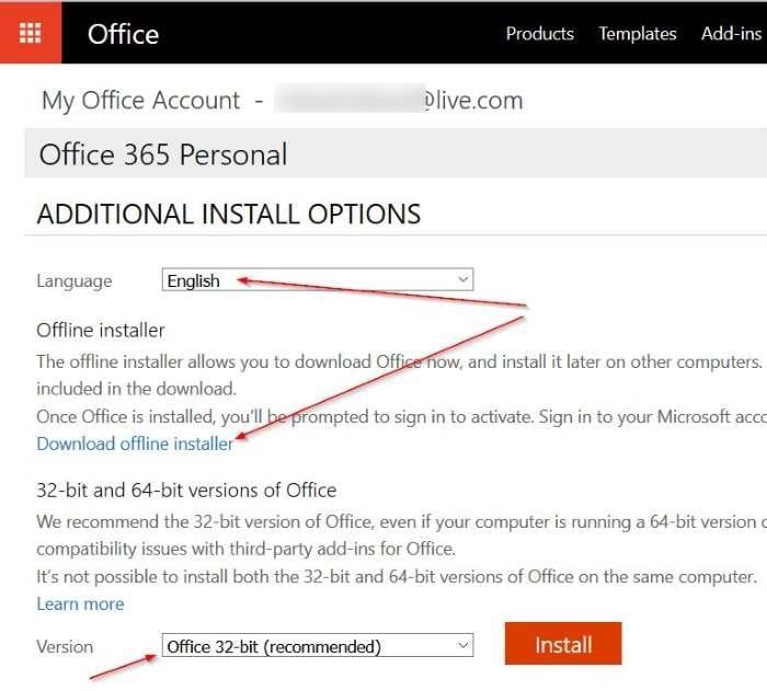 téléchargez l'étape d'installation hors ligne Office 3654