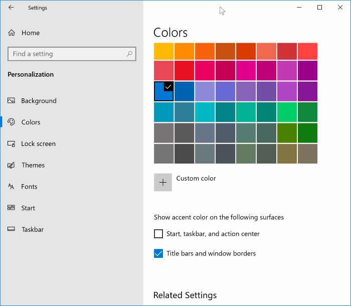 show color on taskbar title bar Windows 10