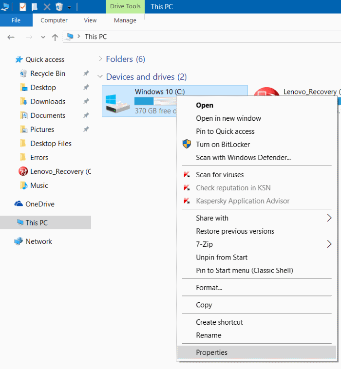 Compress Windows 10 installation files and folders step6