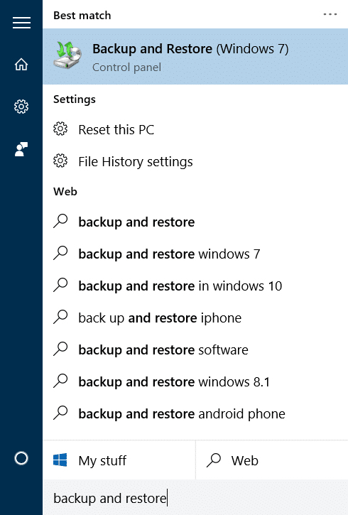 Create system image backup in Windows 10 step1