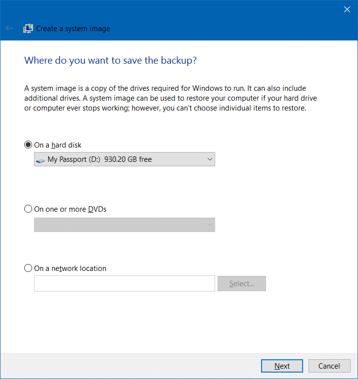 Create system image backup in Windows 10 step3
