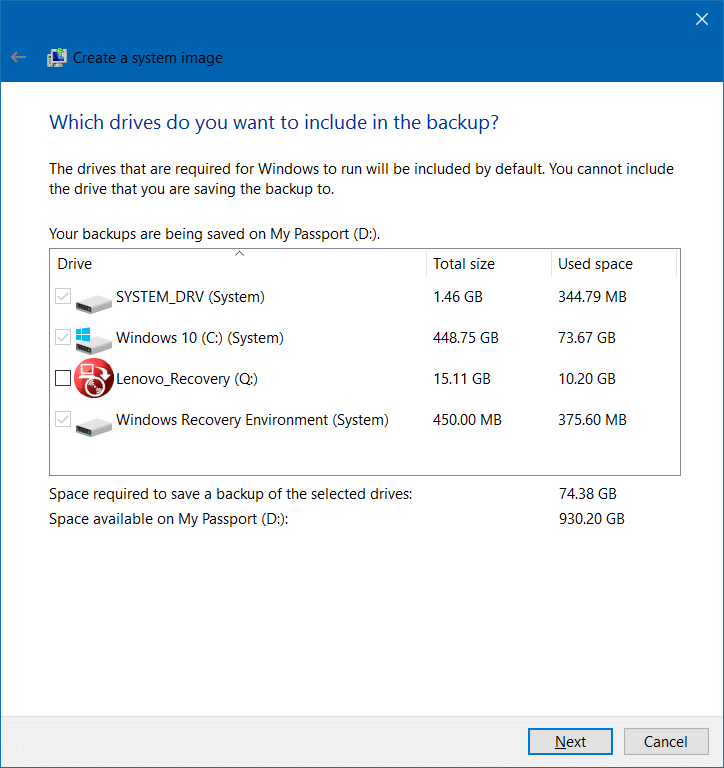 Create system image backup in Windows 10 step4