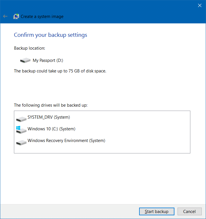 Create system image backup in Windows 10 step6