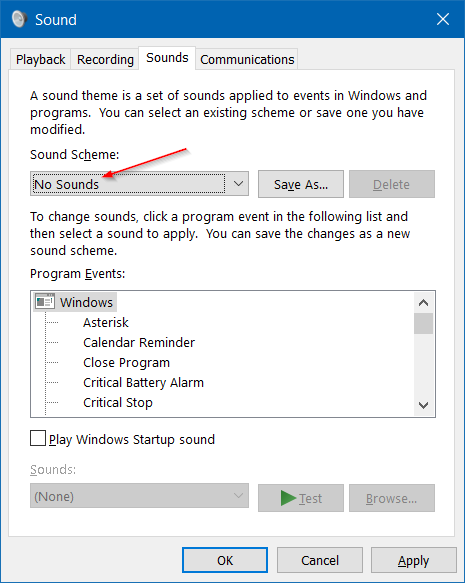 Disable Notification Sound in Windows 10 step7