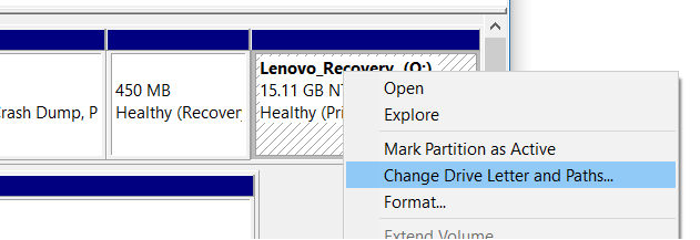 Hide Recovery Partition In Windows 10 step3