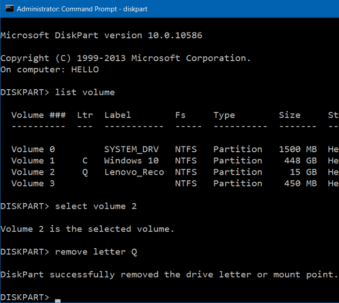 Hide Recovery Partition In Windows 10 step8