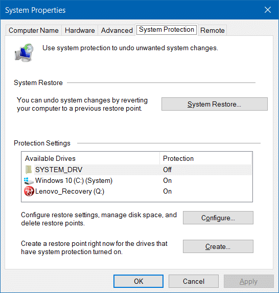 Make system restore use less disk space in Windows 10 step3.1