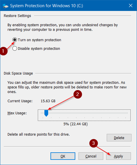 Make system restore use less disk space in Windows 10 step4