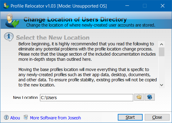 Move Users profile folder to another drive in Windows 10 step2