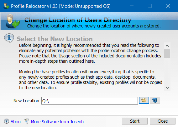 Move Users profile folder to another drive in Windows 10 step3