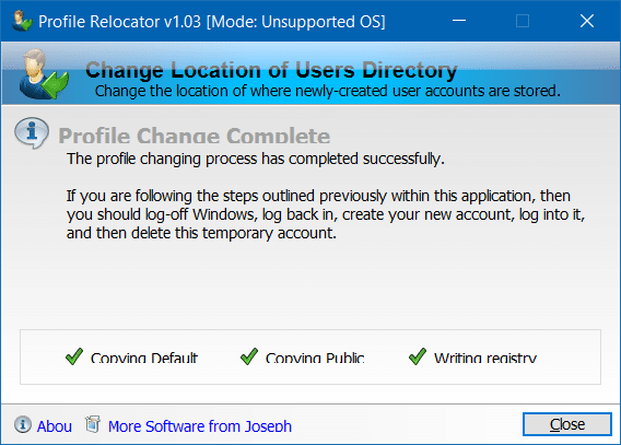 Move Users profile folder to another drive in Windows 10 step4