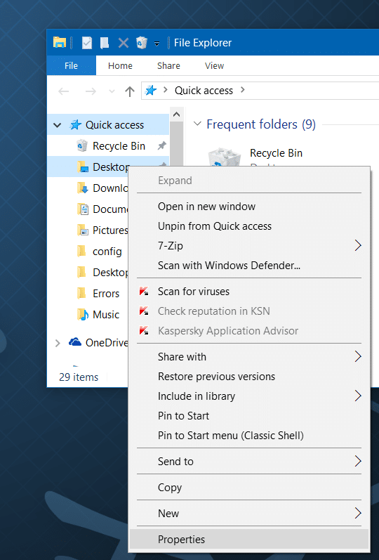 Move downloads and desktop folders to another drive in Windows 10 step2