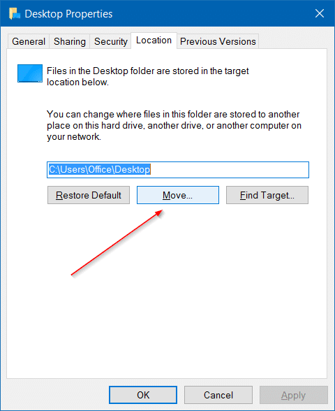 Move downloads and desktop folders to another drive in Windows 10 step3