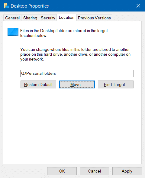 Move downloads and desktop folders to another drive in Windows 10 step5