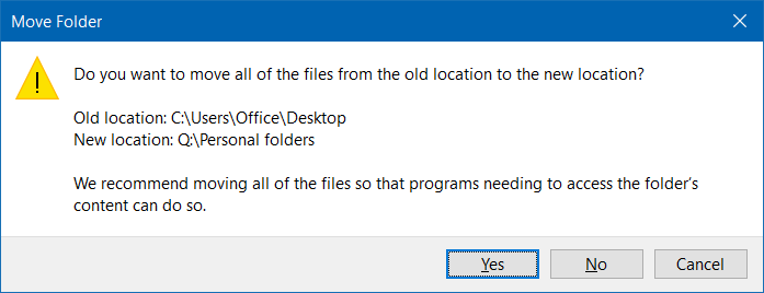 Move downloads and desktop folders to another drive in Windows 10 step6