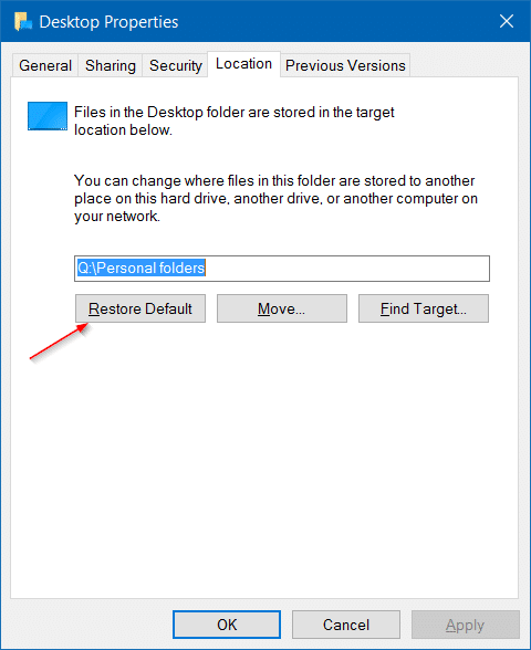 Move downloads and desktop folders to another drive in Windows 10 step9